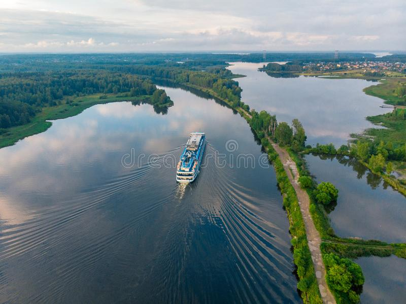 View from above on a ship going along the blue river royalty free stock photography