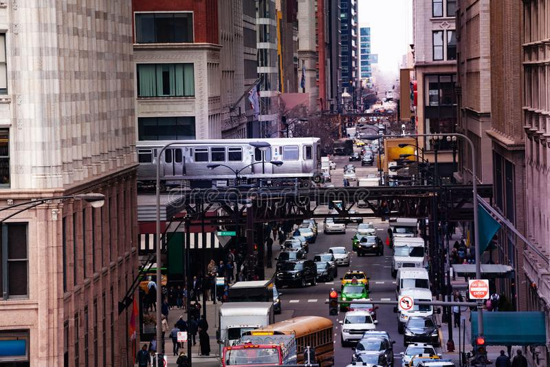View from above of street and train metro Chicago stock photos