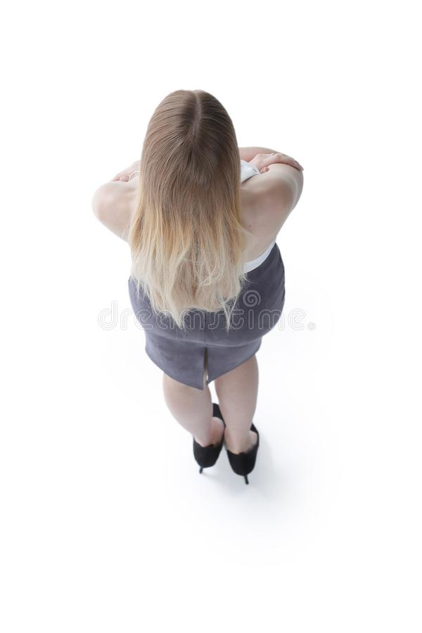 View from above. successful young business woman looking forward. stock photo