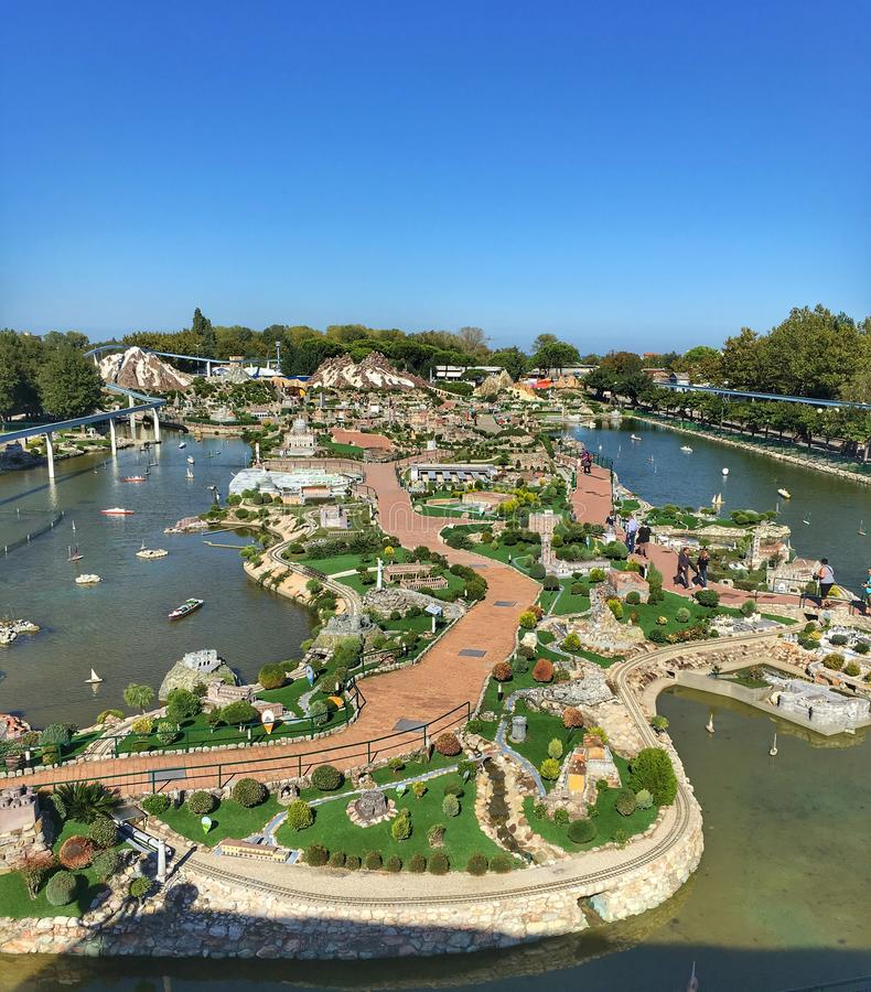 View from above,theme park miniature of famous buildings. Viserba Rimini panoramic view of Italy in miniature theme park about landmarks buildings royalty free stock photos