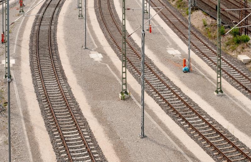 View from above to curved railway tracks stock images