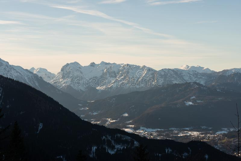 View from above Valley winter golling austria royalty free stock photo