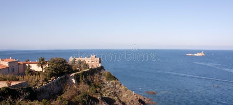 View Above Villa Dei Mulini, Portoferraio stock images