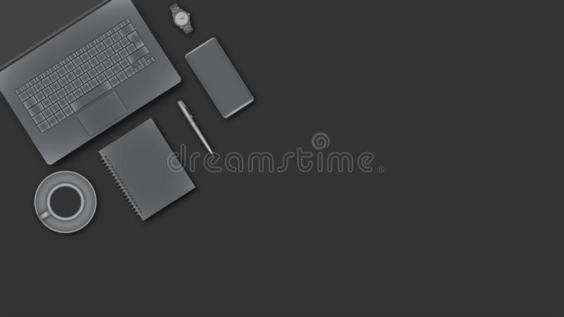 View from above of working desk with business devices royalty free stock image