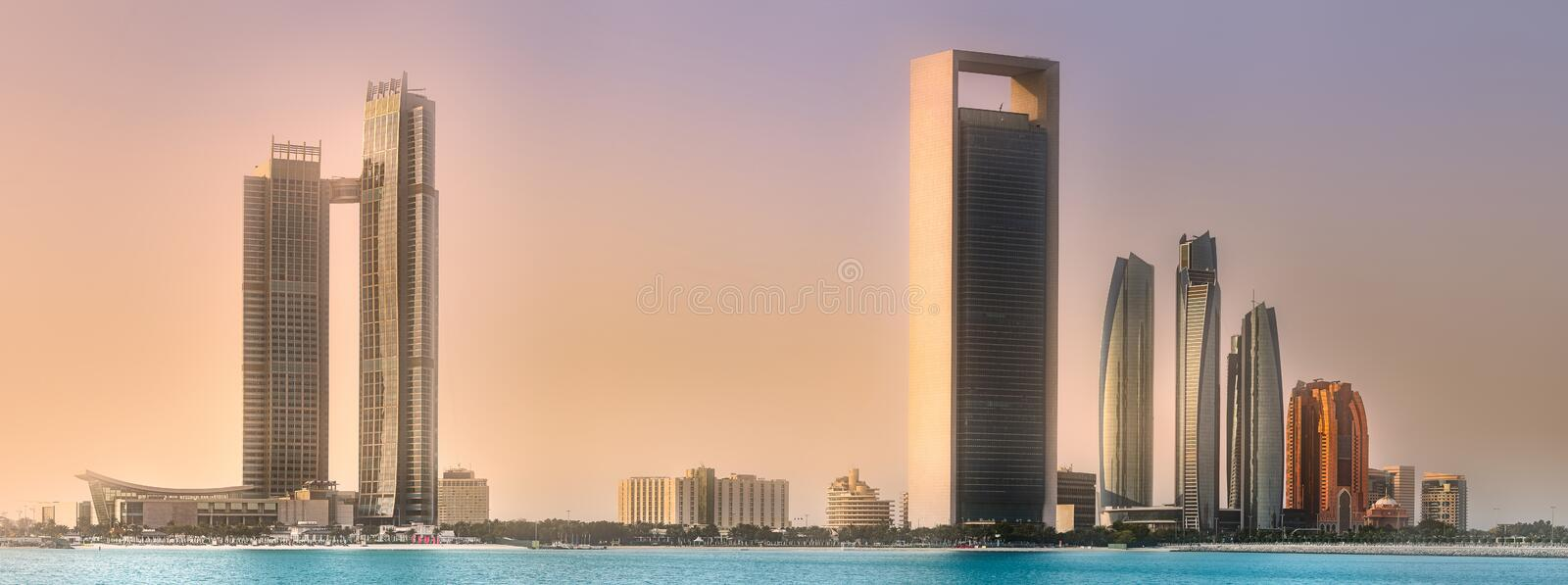 Download View Of Abu Dhabi Skyline At Sunrise, UAE Stock Photo - Image of modern, middle: 108912830
