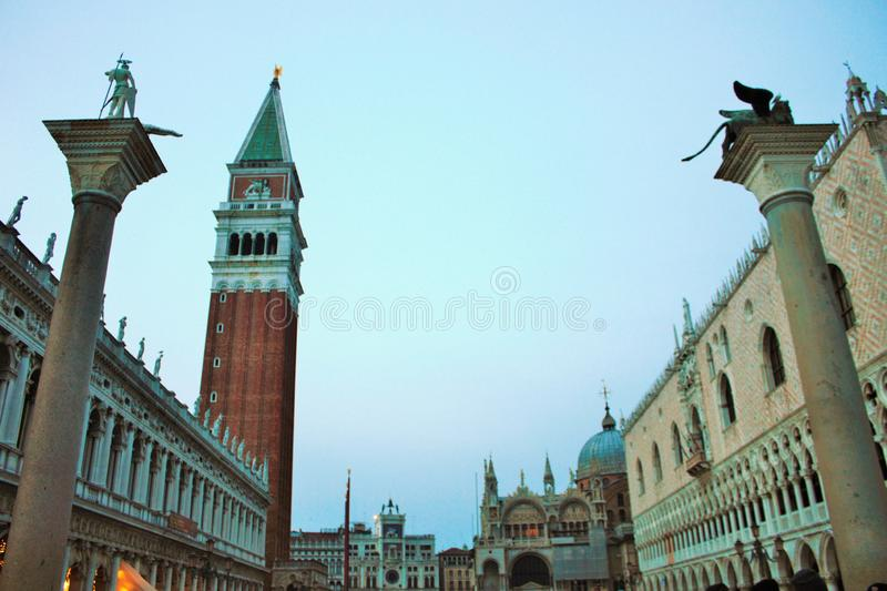 View of the academy in piazza san marco, parked gondolas in the foreground. Piazza San Marco, located in Venice, is one of the most important Italian squares royalty free stock photography