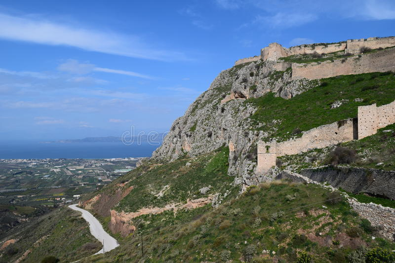 View from Acrocorinth fortress, the acropolis of ancient Corinth,. Acrocorinth Greek: Ακροκόρινθος, `Upper Corinth`, the royalty free stock image