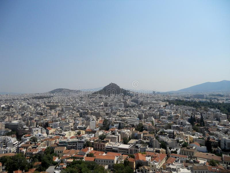 Panoramic view from Acropolis to City of Athens stock photo