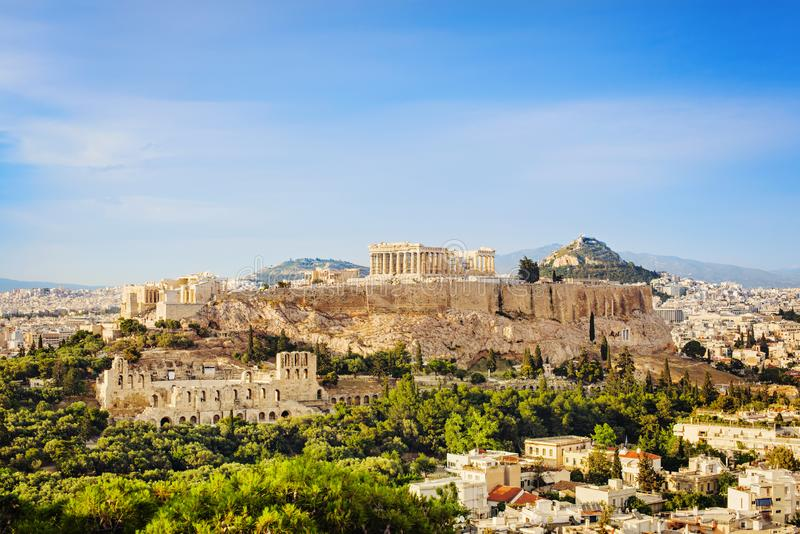 View of Acropolis and the city of Athens, Greece royalty free stock photos