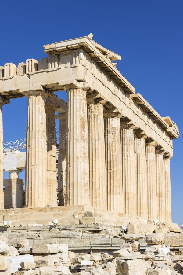 View of Acropolis. Famous place in Athens - capital of Greece. Ancient monuments royalty free stock photography