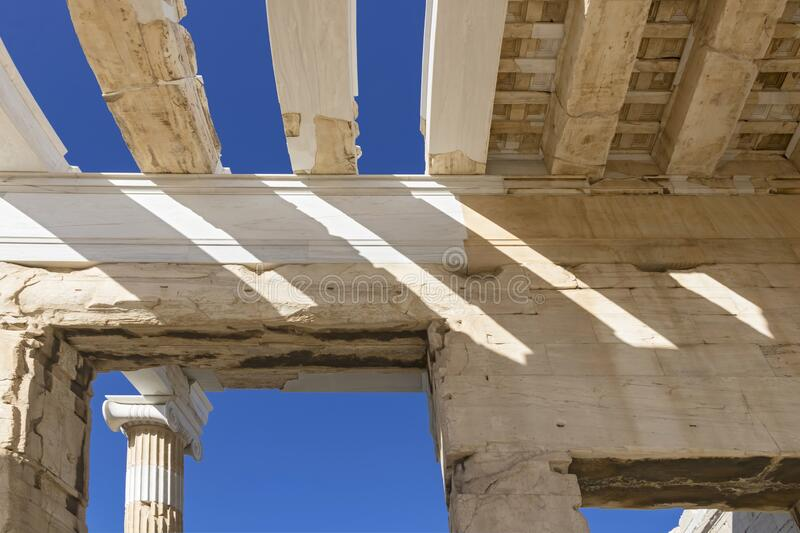 View of Acropolis. Famous place in Athens - capital of Greece. Ancient monuments stock images