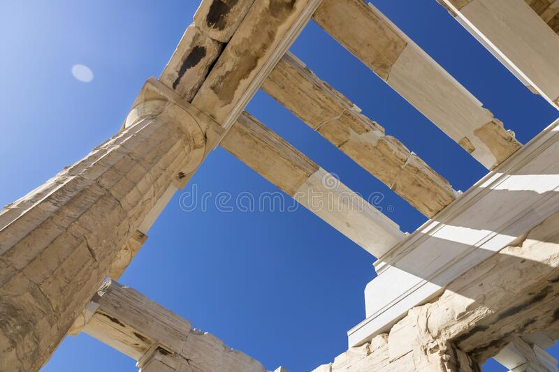 View of Acropolis. Famous place in Athens - capital of Greece. Ancient monuments stock photography