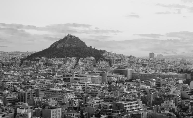 View from Acropolis Hill to Lycabettus Hill, Greek Parliament on the background of the Athens city, Greece. stock image