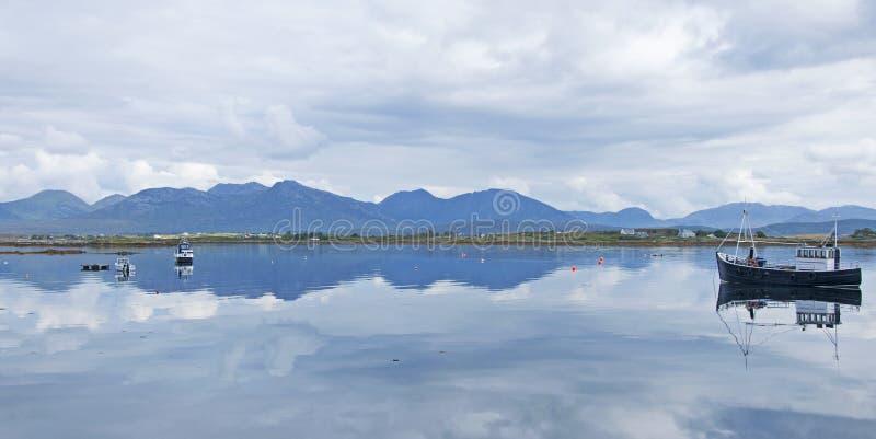View across the bay at Roundstone, Ireland stock photo