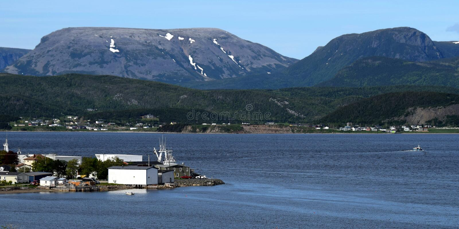 Bonne Bay view towards the Gros Morne mountain royalty free stock images