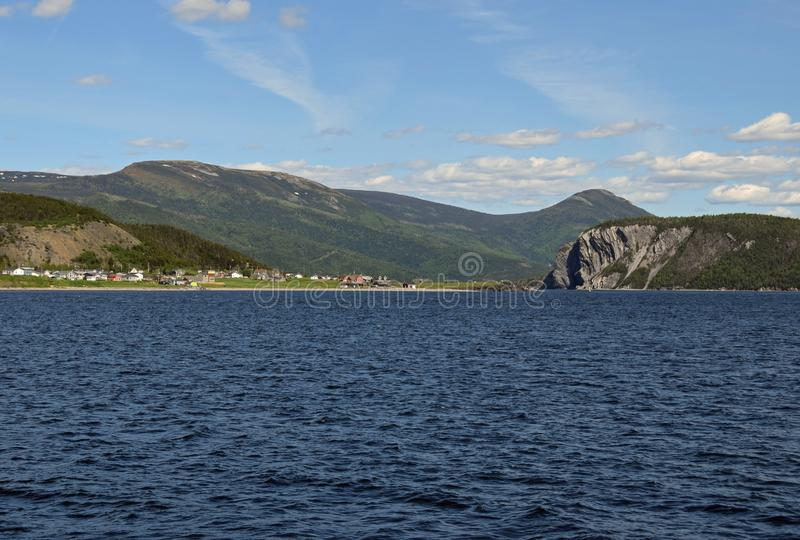 View across the Bonne Bay towards Norris Point. And the Shag Rock, scenery along the Viking Trail in the Gros Morne National Park, Newfoundland and Labrador stock photography