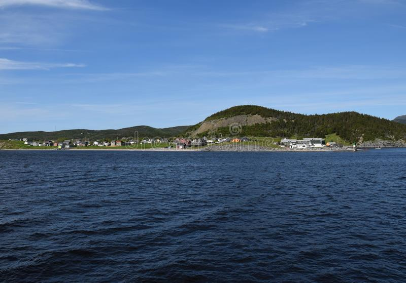 View across the Bonne Bay towards Norris Point. And the Gros Morne Mountain, scenery along the Viking Trail in the Gros Morne National Park, Newfoundland and stock image
