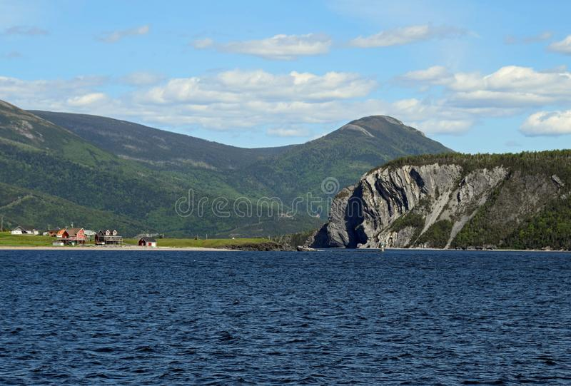View across the Bonne Bay towards Norris Point. And the Shag Rock, scenery along the Viking Trail in the Gros Morne National Park, Newfoundland and Labrador stock photos