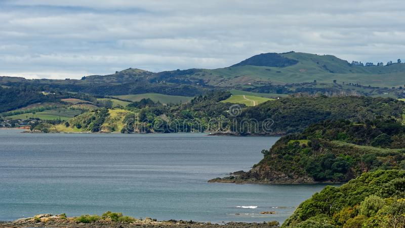 View across Cable Bay in Mangonui New Zealand. On an overcast day stock photography