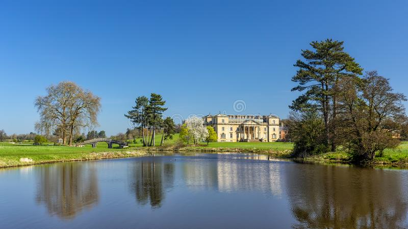 Croome Lake, Court and Chinese Bridge, Worcestershire, England. stock photo