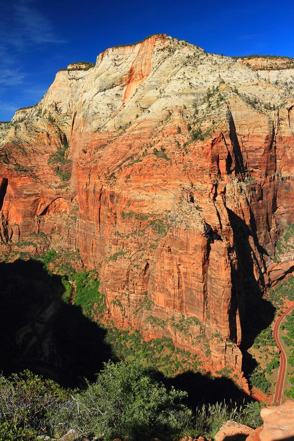 Observation Point from Angels Landing in Evening Light, Zion National Park, Utah. View across the deep chasm of Zion Canyon from Angels Landing to the sheer royalty free stock photos