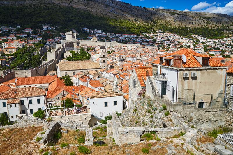 View across Dubrovnik from the city walls. View from the city walls of the historic centre of Dubrovnik in Dalmatia, Croatia royalty free stock image