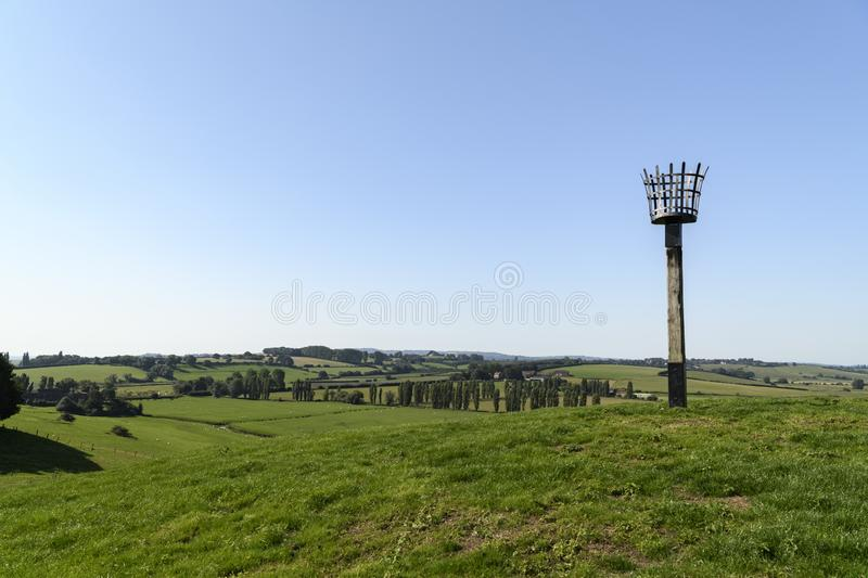 Millenium Beacon. The view across the East Sussex countryside from the Millenium Beacon at Winchelsea, East Sussex, England. 01 September 2018 stock photography