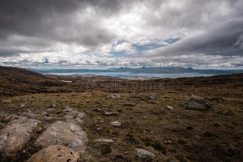 View of Isle of Skye from Bealach n Ba in Scotland. View across Inner Sound of Raasay towards the Isle of Skye from the 626 metre high viewpoint at Bealach na Ba royalty free stock photos