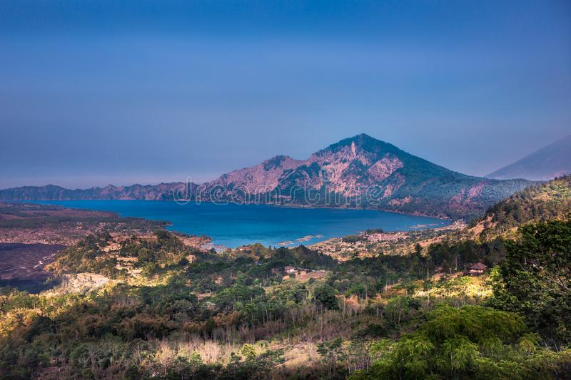 A view across Lake Batur in Bali, Indonesia. Gorgeous views looking out across Lake Batur in the Bangli Regency area of Bali, Indonesia royalty free stock image