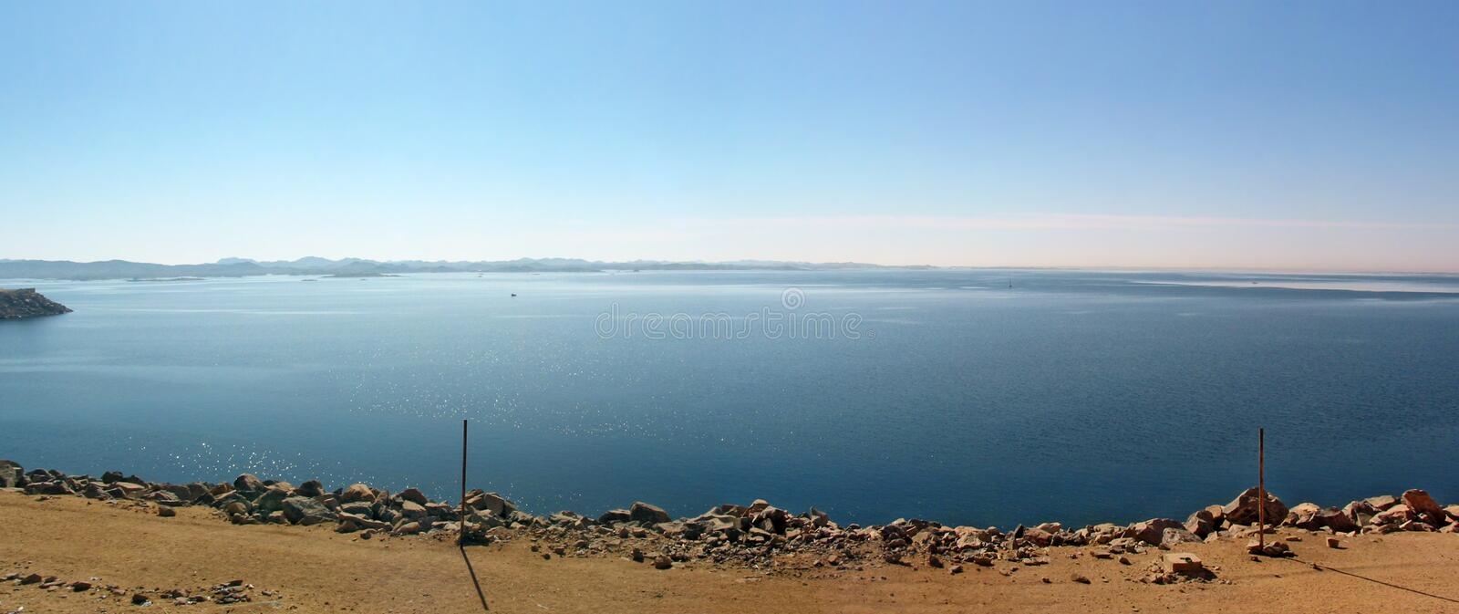 View across the lake Nasser royalty free stock image