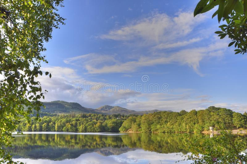 Landscape showing Reflections of Trees on Scottish Loch stock photography