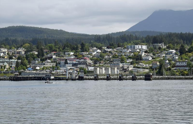 ocean view towards the harbour in Powell River, BC stock photo