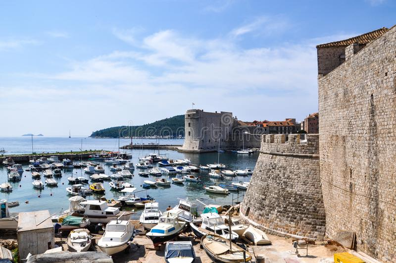 A view across the port / old harbour Dubrovnik Old Town / Croatia stock photography