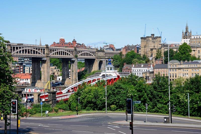 City buildings and High Level Bridge, Newcastle upon Tyne. royalty free stock photos