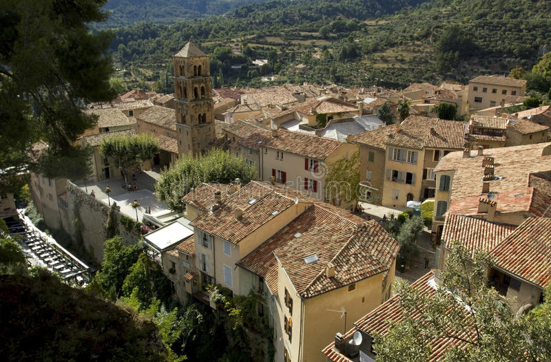 View across roof tops, Moistiers Sainte Marie, Verdon, France royalty free stock photo