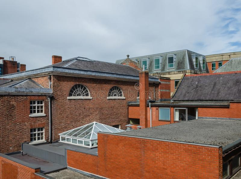 Chester roof tops. A view across rooftops of shops and offices in Chester stock photography