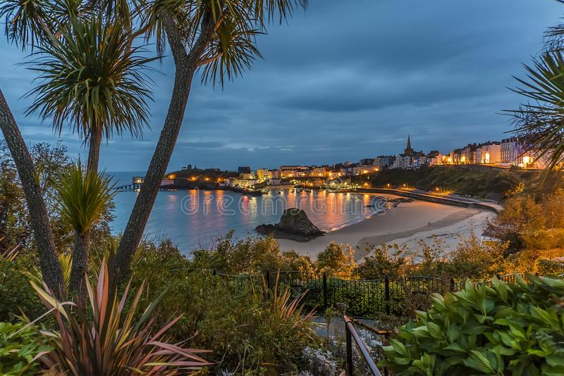 A view across Tenby Harbour at sunrise royalty free stock images