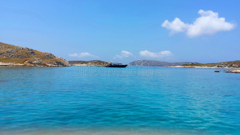 View across turquoise water stock images