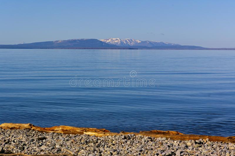 View across Yellowstone Lake in the early morning, Yellowstone National Park, USA royalty free stock image