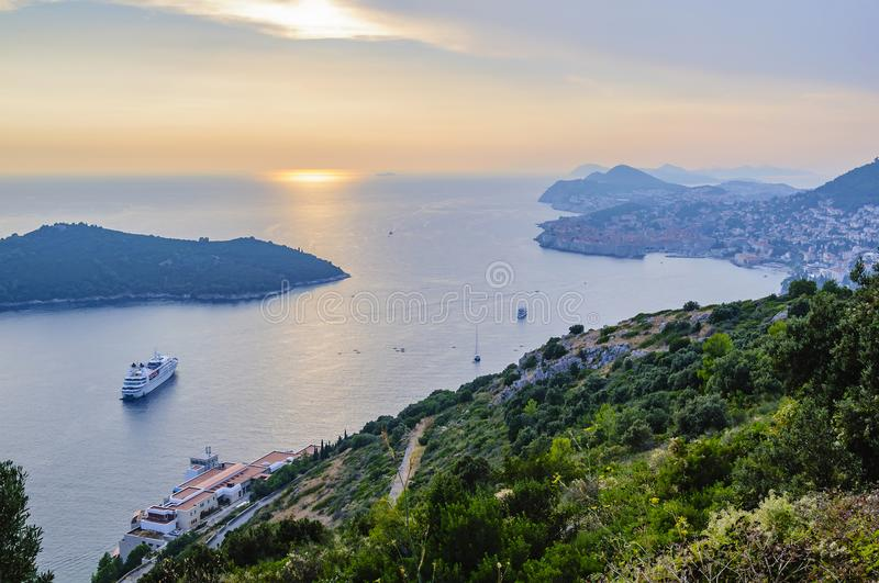 View of the Adian Sea, the island of Lokrum and the city of Dubrovnik at sunset. Croatia royalty free stock photo