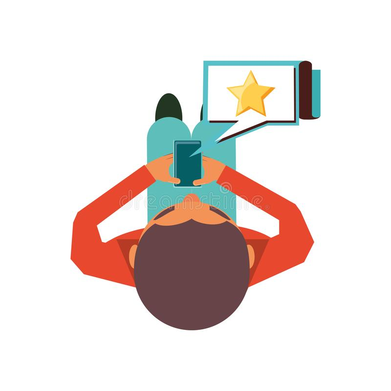 View aerial of man with smartphone and speech bubble royalty free illustration