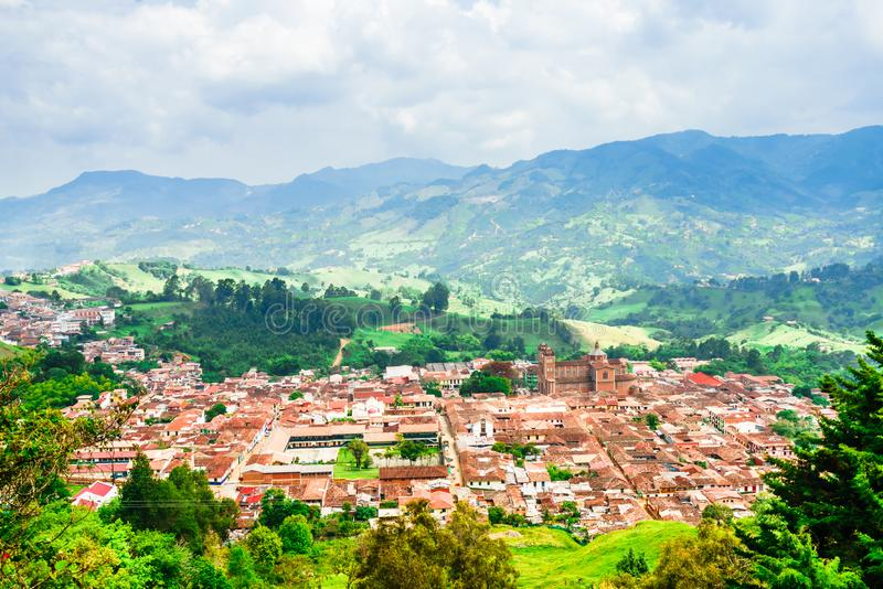 View on aerial view of village Jerico antioquia, Colombia royalty free stock photos