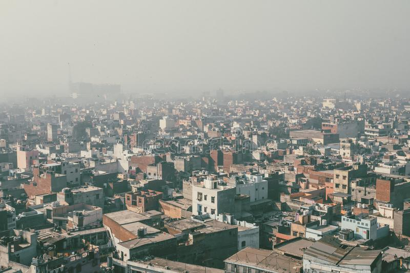 View from Aeroplane, Aero view,. Bird eye view, buildings view with wing plane in Delhi India stock photography