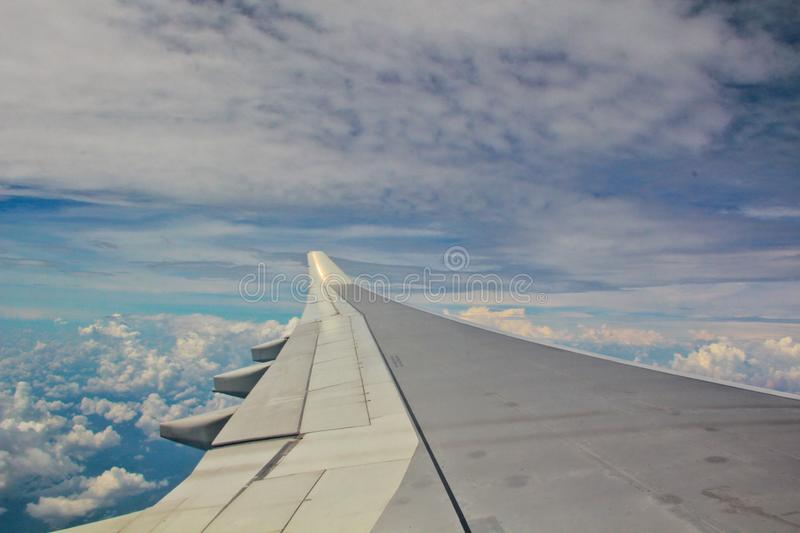 A view of a aeroplane wing from the inside stock image