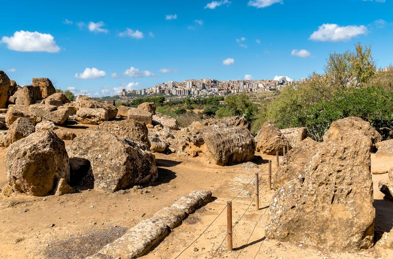 View of Agrigento town from the Temples Valley Archaeological Park, Sicily. royalty free stock images