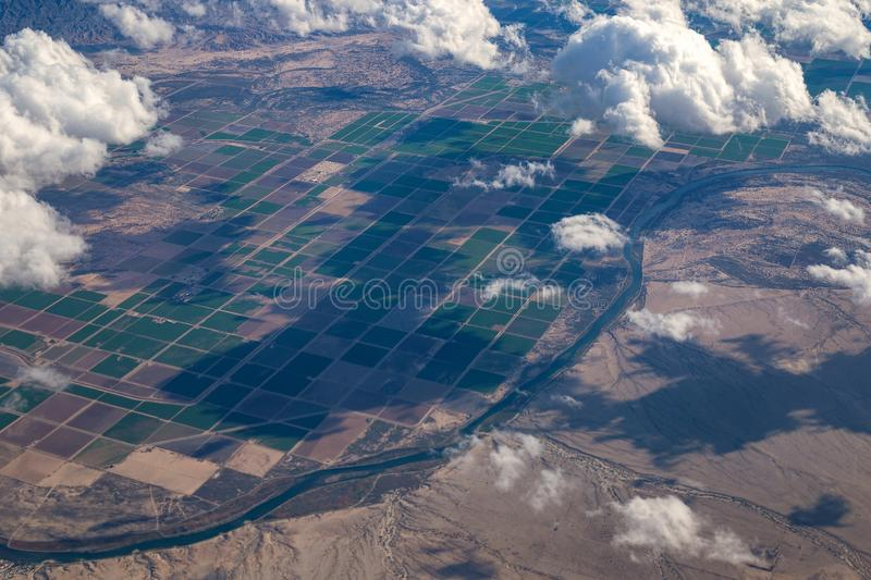 Colorado River and Arizona farms aerial view royalty free stock images