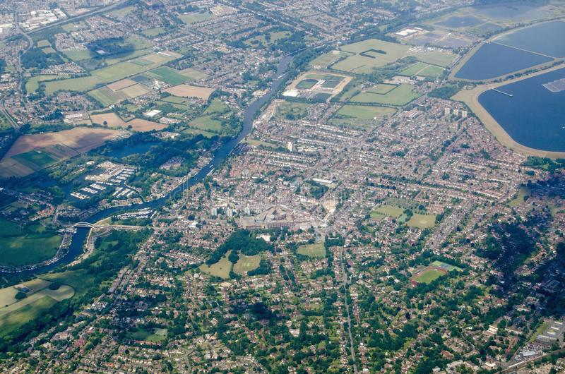 Walton on Thames, aerial view royalty free stock images