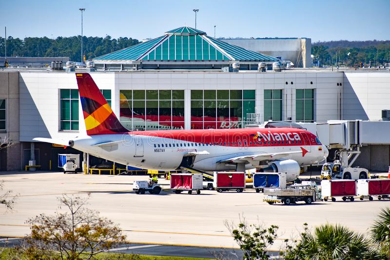 View of airplane from Avianca Airlines AV  at the gate in Orlando International Airport MCO  2. Orlando, Florida.  March 01, 2019. View of airplane from Avianca royalty free stock photo