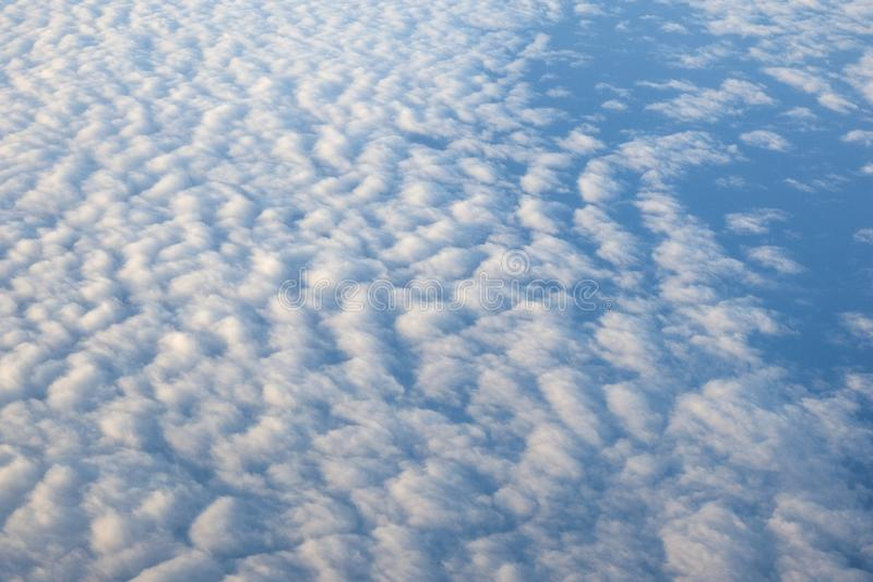 White clouds in rainy season and nice blue sky, bird eye view royalty free stock images