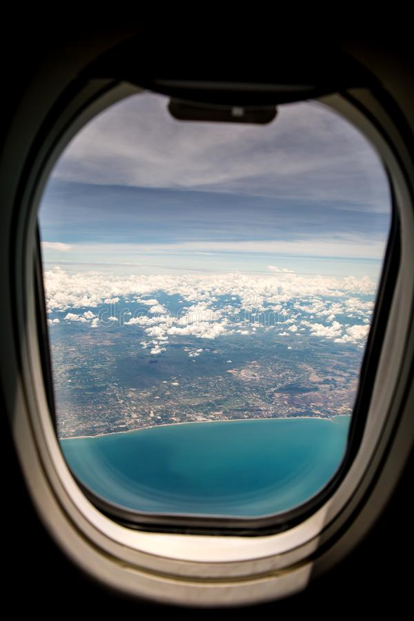 View from airplane window royalty free stock photography